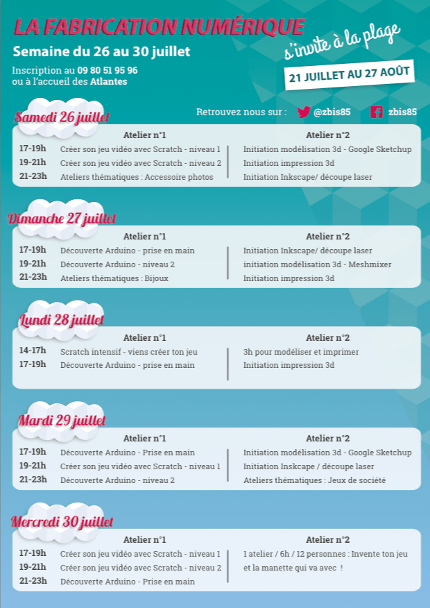 Programme zbis du 26 au 30 juillet