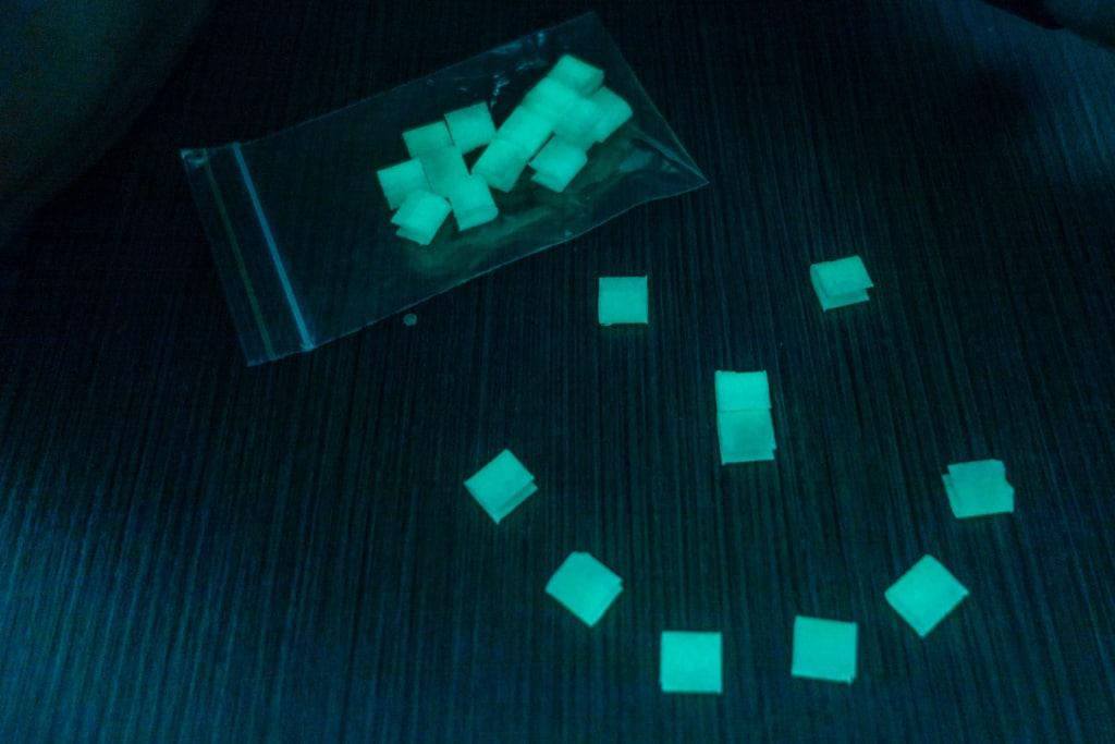 Les boucles phosphorescentes imprimées en 3D par Guillaume.
